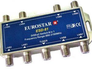 DiseqC и мультисвичи - Купить, подключение и установка EUROSTAR ESD-81 DiSEqC Switch 8 in 1 в Ташкенте